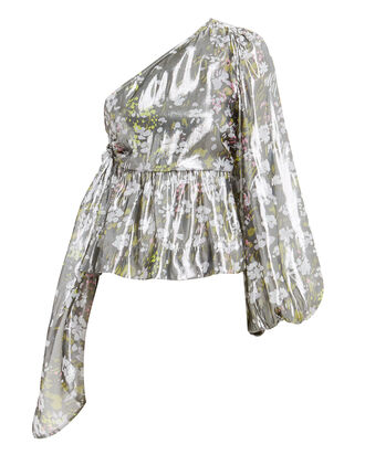 One Shoulder Metallic Silk Top, METALLIC/FLORAL, hi-res
