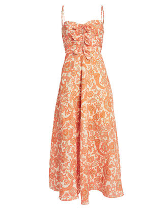 Peggy Paisley Linen Midi Dress, ORANGE PAISLEY, hi-res
