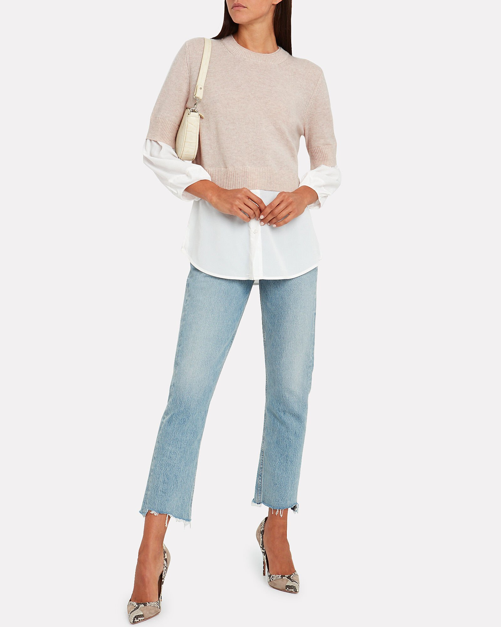 Ebella Layered Crewneck Sweater, BEIGE/WHITE, hi-res