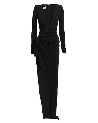 Stretch Jersey Plunge Neck Asymmetrical Gown, BLACK, hi-res