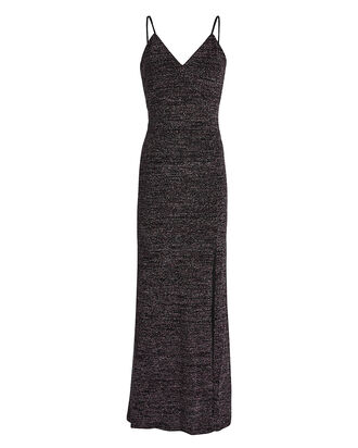 Adelaide Knit Lurex Slip Dress, BLACK, hi-res