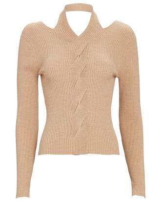 Leah Cut-Out Cable Knit Top, BEIGE, hi-res