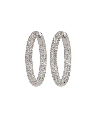 Tire Crystal Embellished Hoop Earrings, SILVER, hi-res