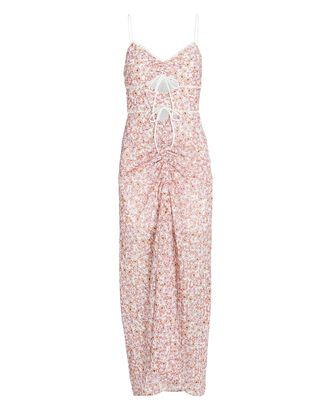 Angelina Floral Cut-Out Midi Dress, WHITE/BLUSH/PINK, hi-res