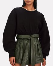 Pearl Necklace Wool-Cashmere Sweater, BLACK, hi-res