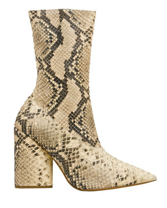 Snakeskin-Embossed Stretch Boots, BEIGE, hi-res