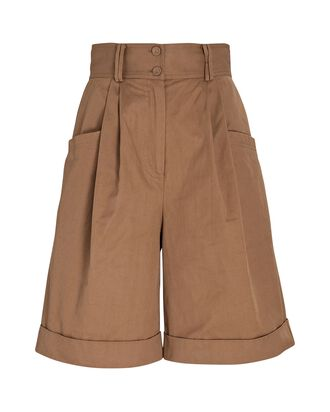 Parity Cuffed Cotton Twill Shorts, BROWN, hi-res
