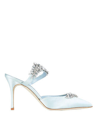 Lurum Crystal-Embellished Satin Mules, ICE BLUE, hi-res