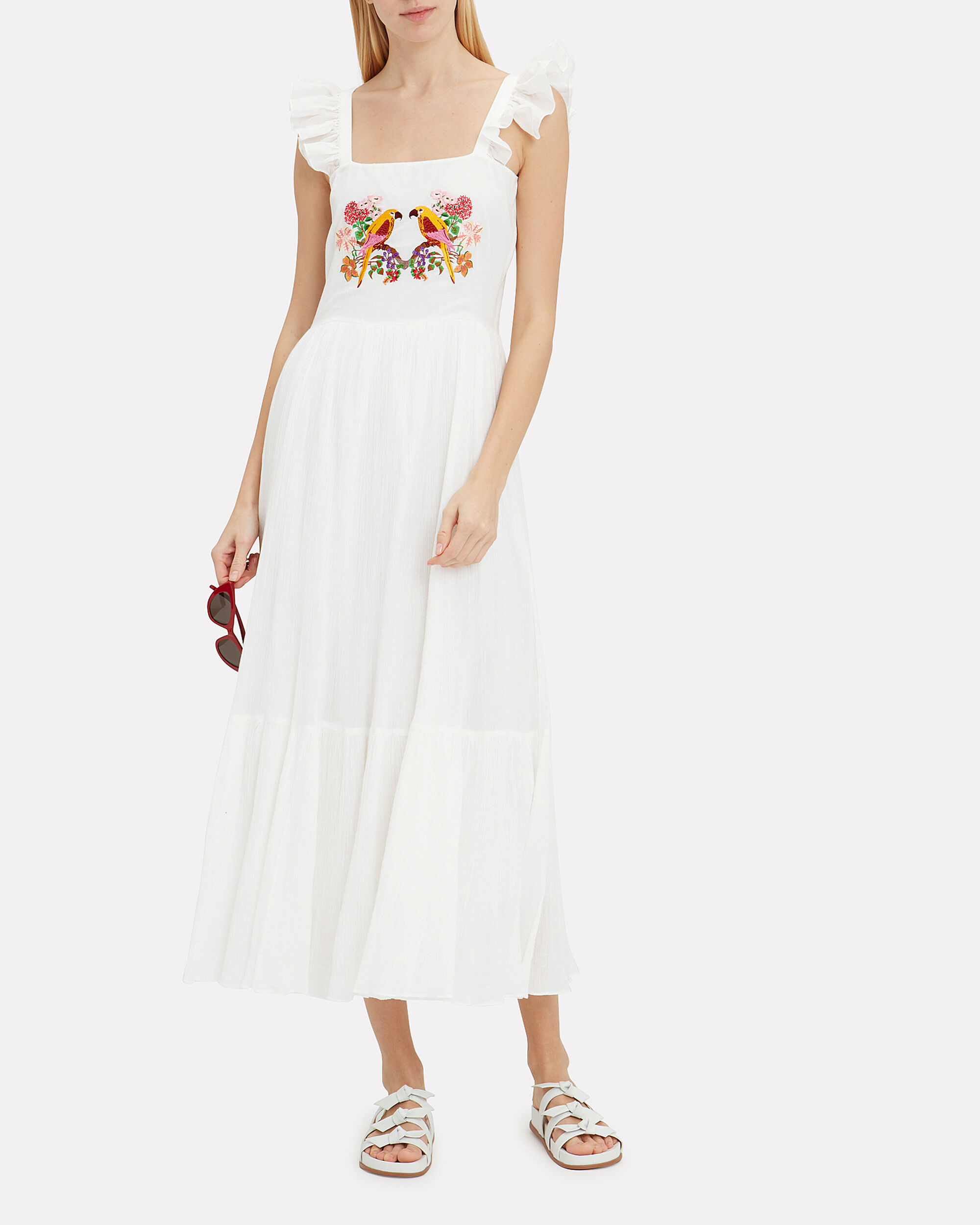Kuna Embroidered Maxi Dress, WHITE/YELLOW/PINK, hi-res