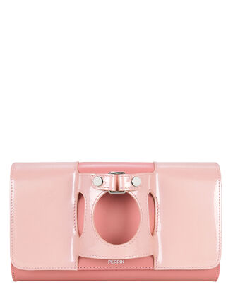 Le Rond Patent Leather Clutch, PINK, hi-res