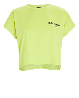 Cropped Logo T-Shirt, LIGHT GREEN, hi-res