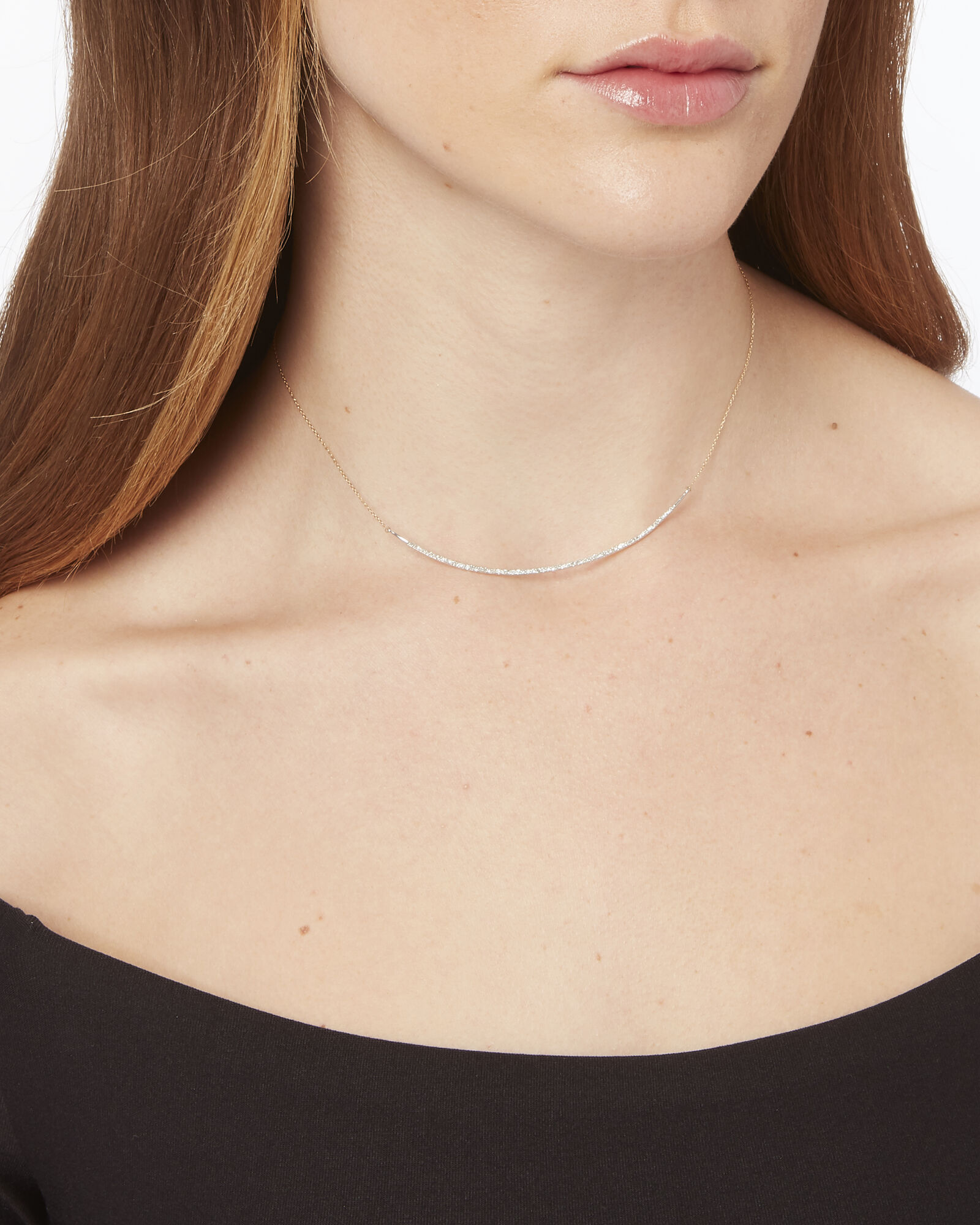 Pavé Curved Collar Necklace, GOLD, hi-res
