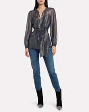 Juliet Metallic Striped Georgette Blouse, BLUE-DRK, hi-res