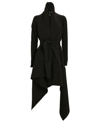 Uneven Blanket Wrap Coat, BLACK, hi-res