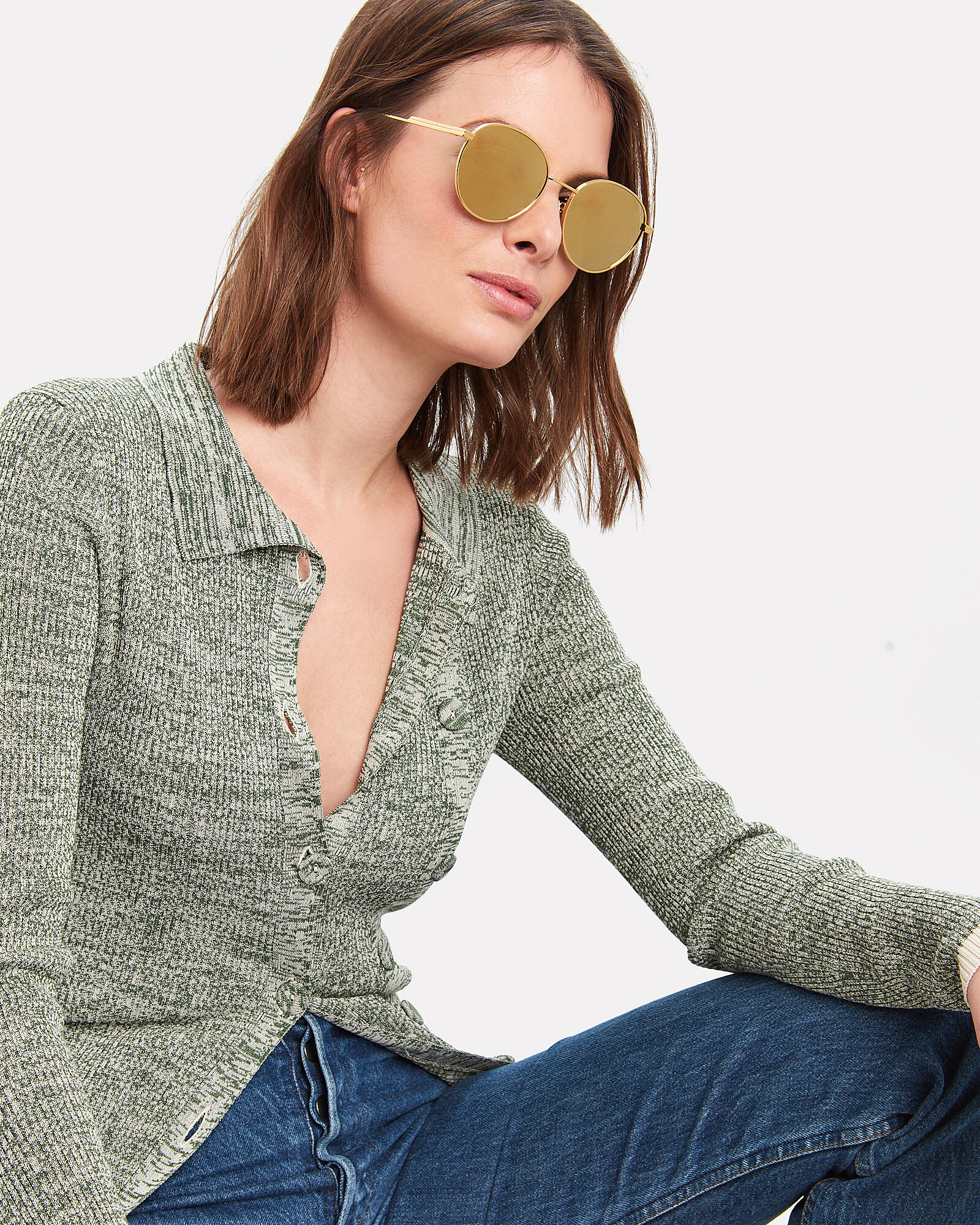 Mirrored Round Wire Sunglasses, GOLD, hi-res