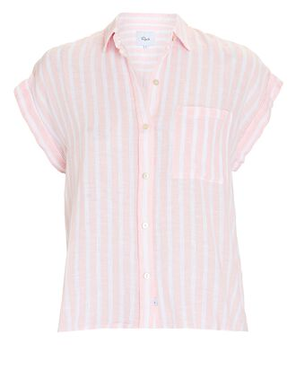 Whitney Short Sleeve Button-Down Shirt, PINK/WHITE, hi-res