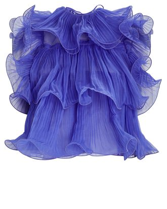 Ruffled Ruffled Plissé Silk Top, BLUE, hi-res