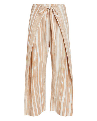 Marais Striped Tie-Waist Pants, BEIGE/WHITE, hi-res