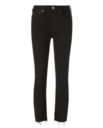 High-Rise Ankle Crop Jeans, BLACK, hi-res