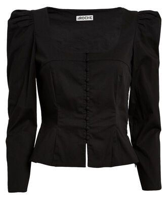 Sandrine Poplin Button Front Blouse, BLACK, hi-res