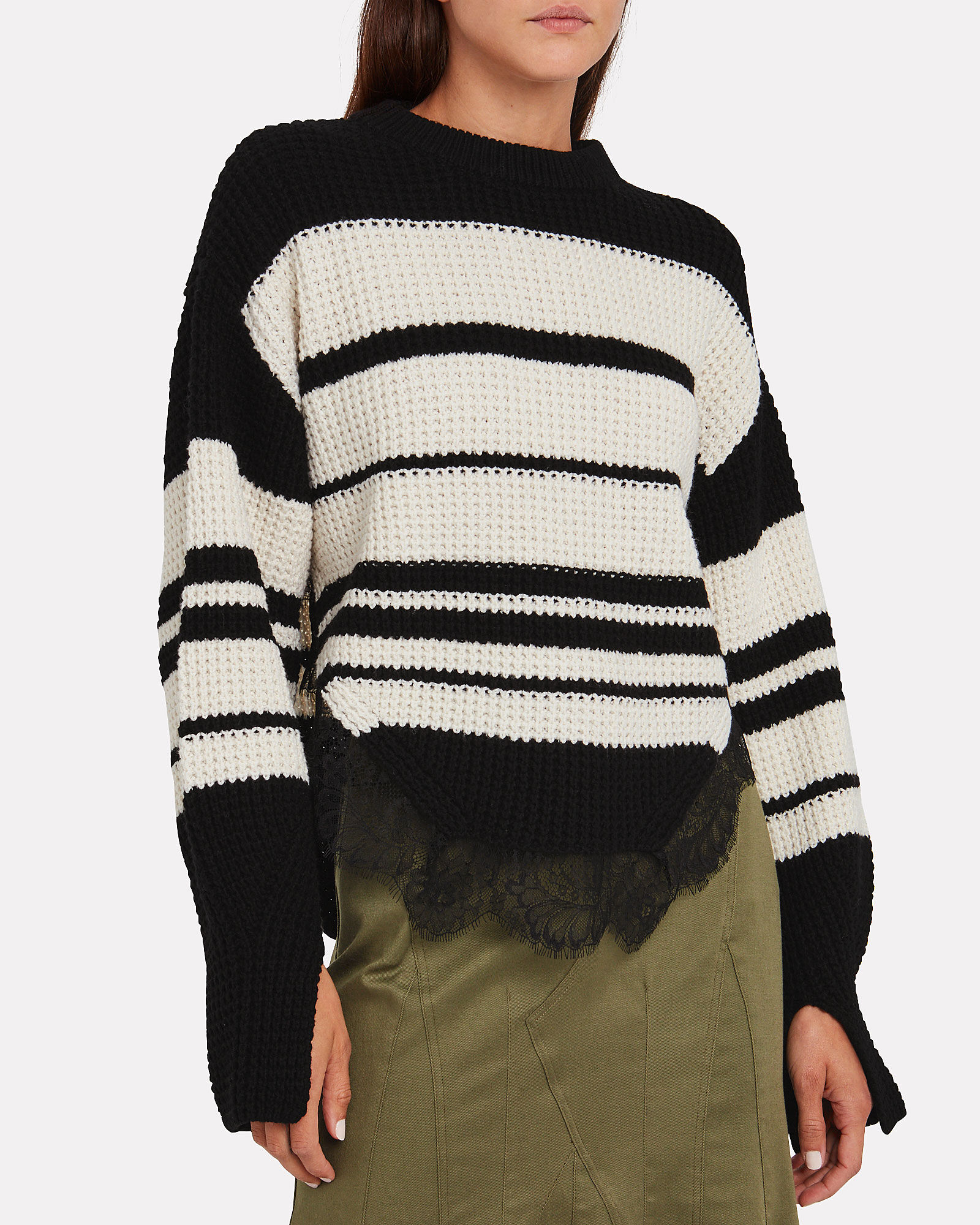 Striped Lace-Trimmed Sweater, BLACK/WHITE, hi-res