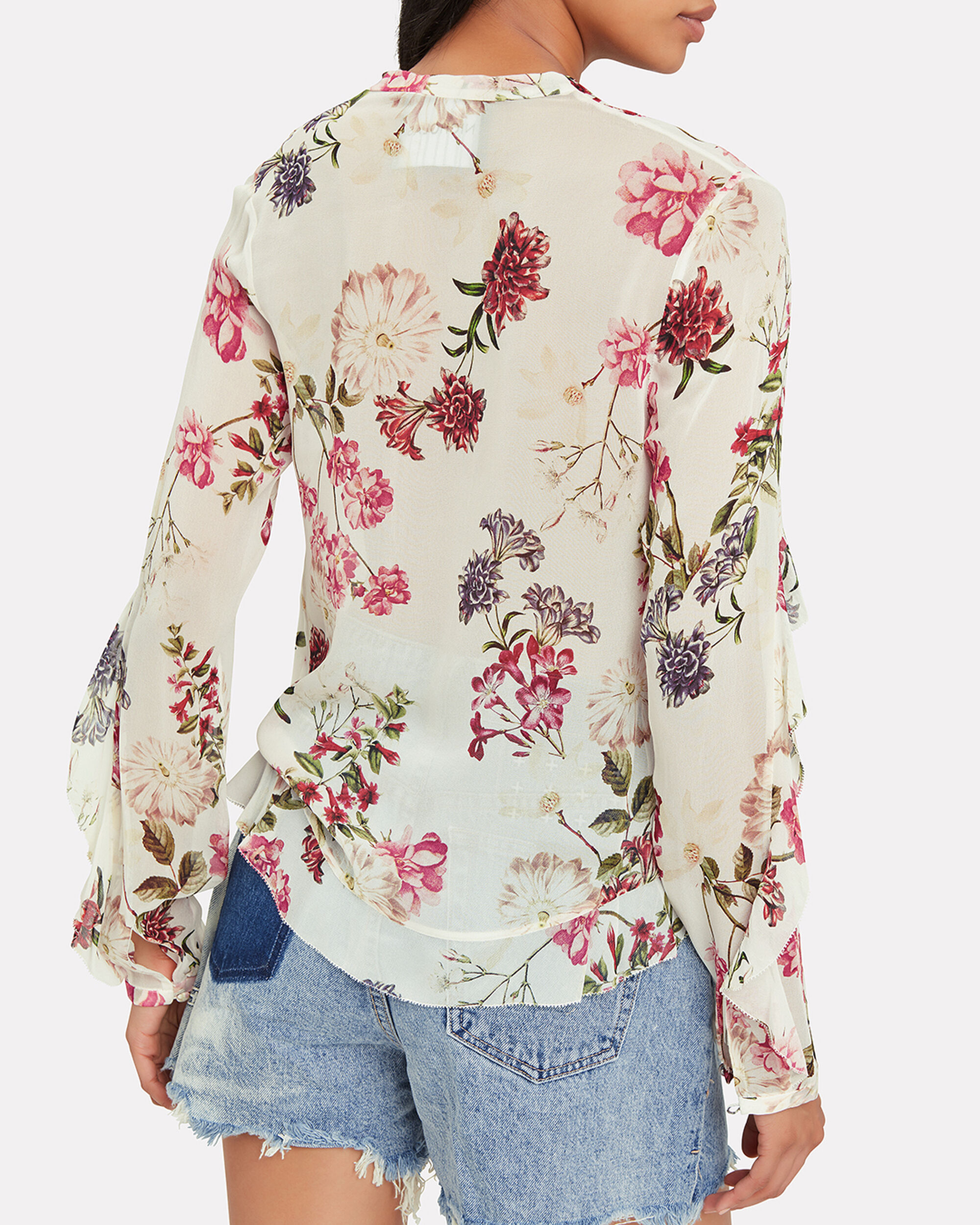 Floral Frill Blouse, WHITE/RED FLORAL, hi-res