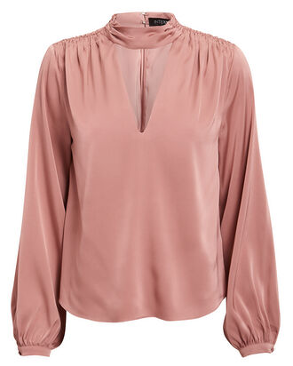 Elaine Silk Blouse, BLUSH, hi-res