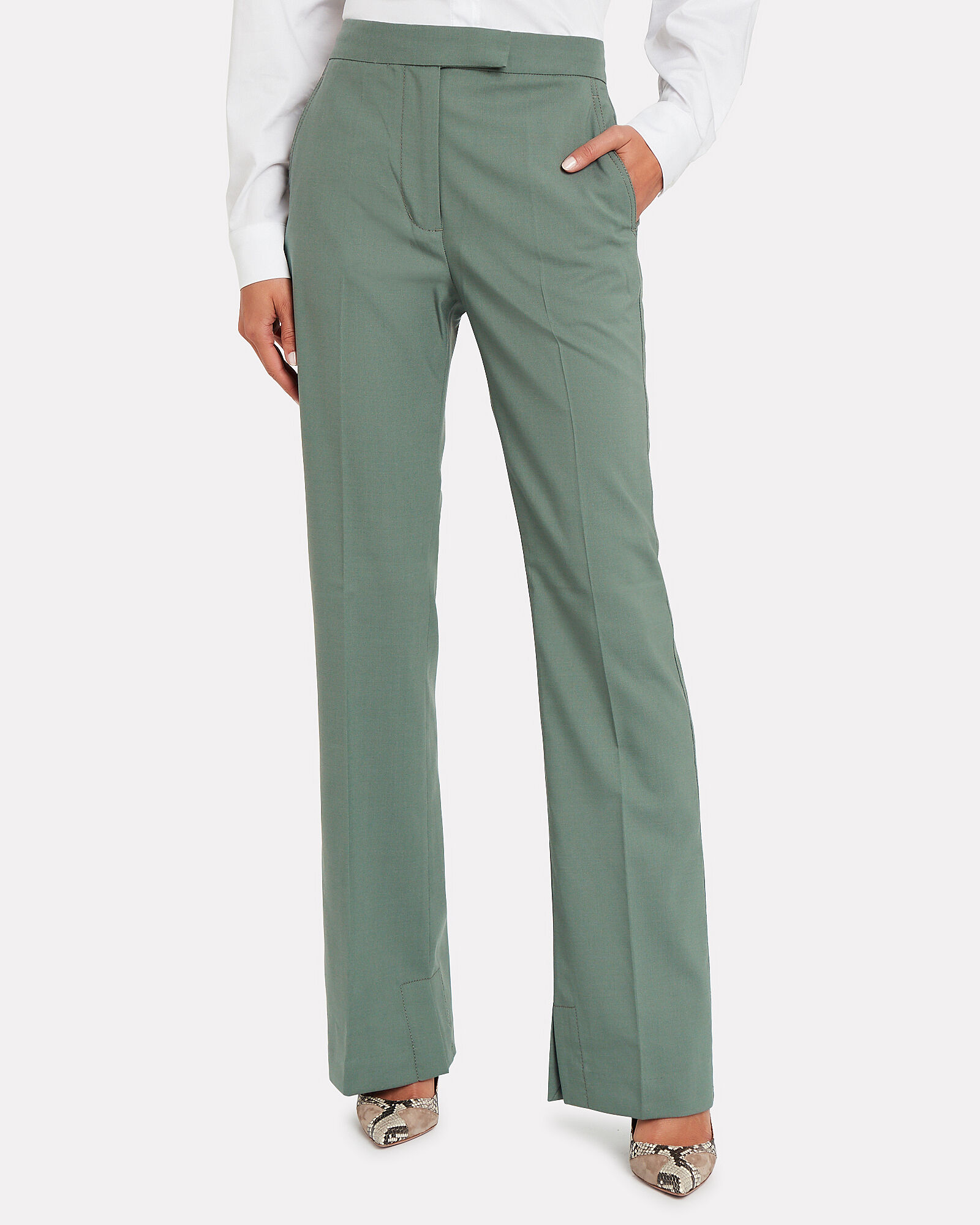 Tailored Wool-Blend Trousers, SEA FOAM GREEN, hi-res