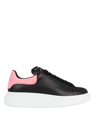 Pelle Pink And Black Leather Sneakers, BLACK/PINK/WHITE, hi-res