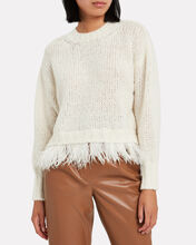 Feather Trimmed Wool-Alpaca Sweater, IVORY, hi-res