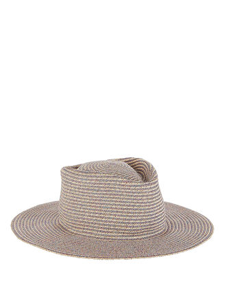 Bungalow Straw Fedora, ROSE/BEIGE, hi-res