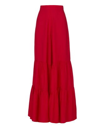 Tiered Wide Leg Pants, RED, hi-res