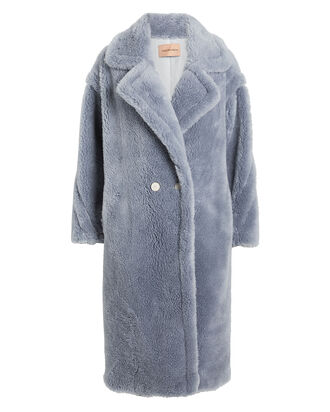 Wool Teddy Coat, BLUE, hi-res
