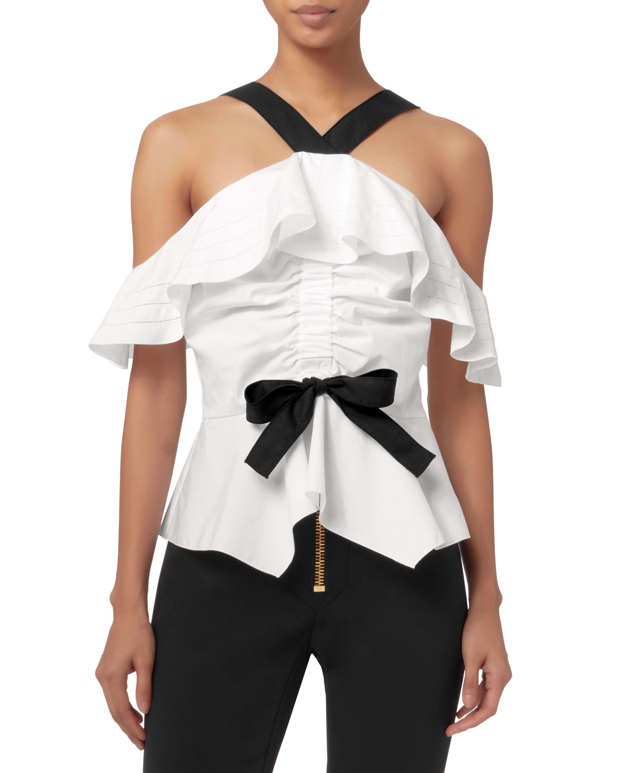 Off The Shoulder Halter Ruffle Top, IVORY, hi-res