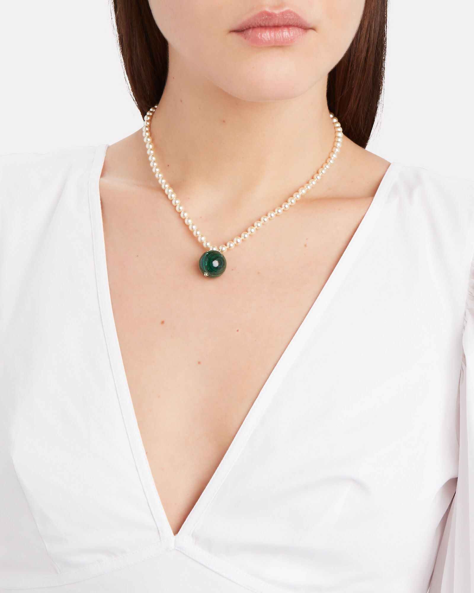 Malachite Pendant Faux Pearl Necklace, GREEN/IVORY, hi-res