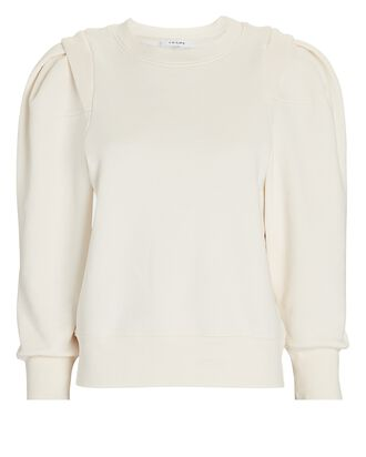 Pleated Cotton-Blend Sweatshirt, IVORY, hi-res