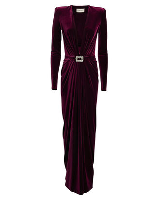 Draped Velvet Buckle Gown, MERLOT, hi-res
