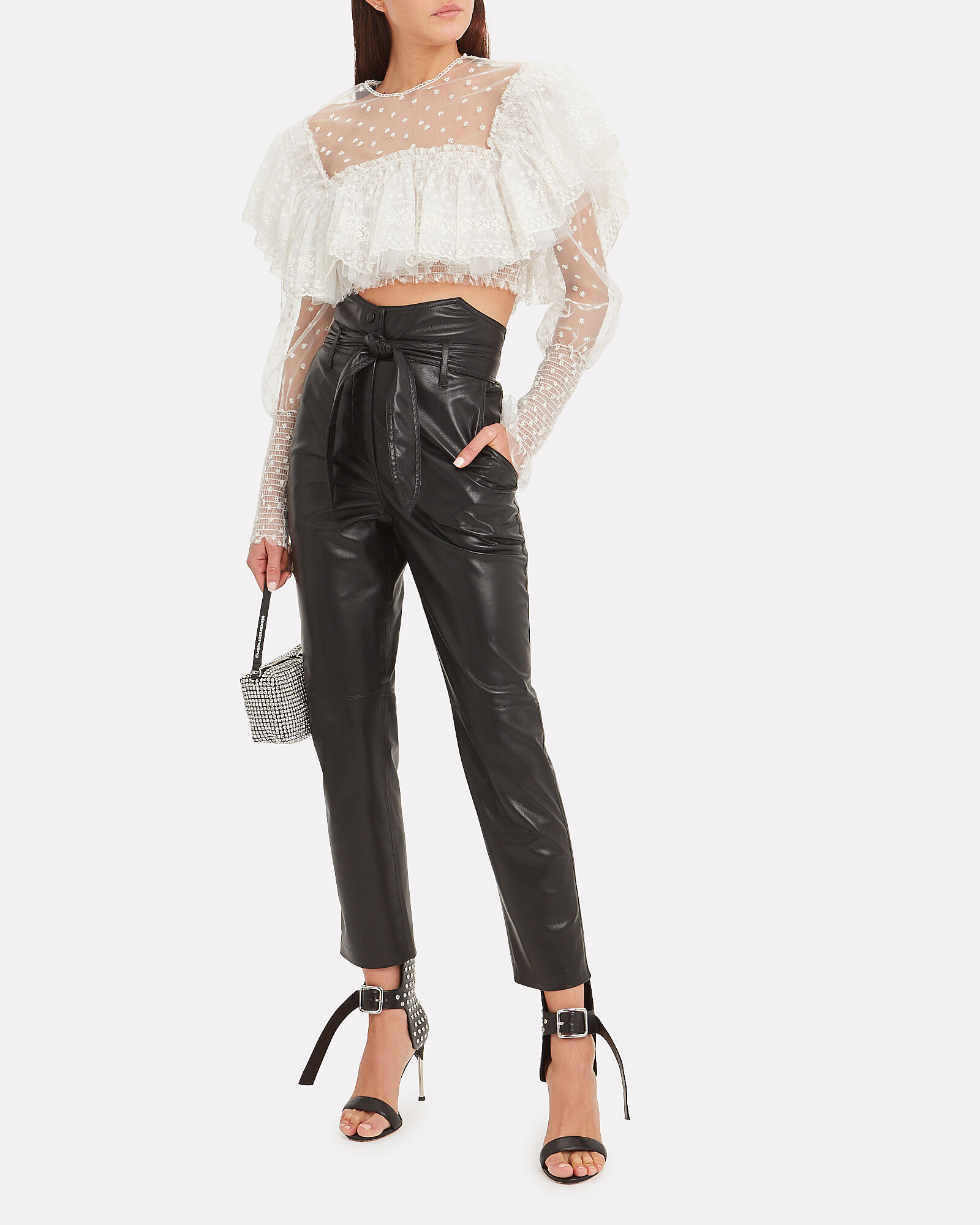 Sheer Ruffle Crop Top, WHITE, hi-res