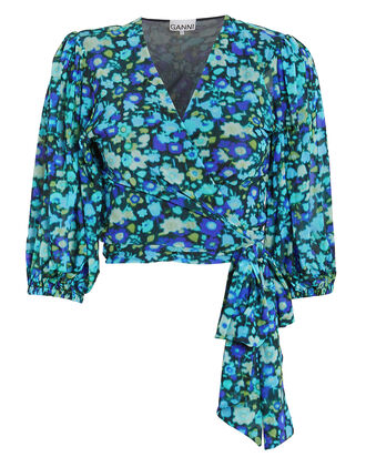 Floral Mesh Wrap Top, AZURE BLUE, hi-res