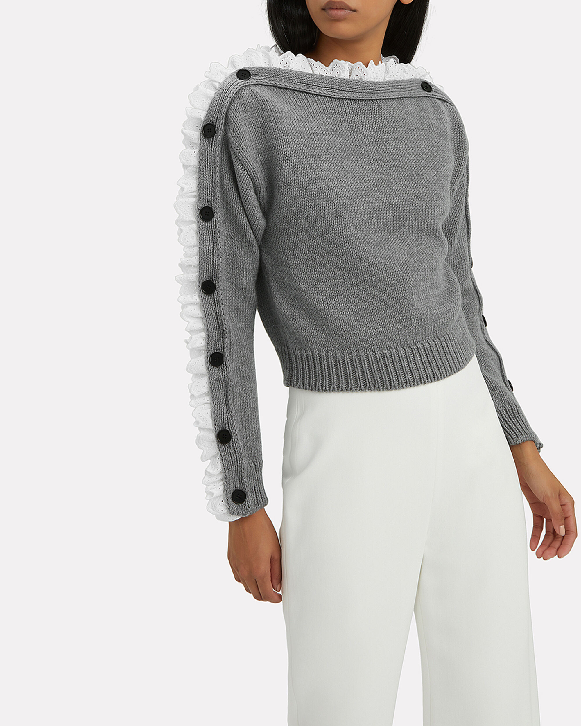 Lace-Trimmed Sweater, GREY, hi-res
