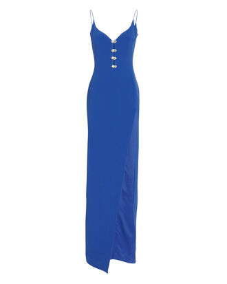 Crystal-Embellished Sweetheart Neck Gown, BLUE, hi-res