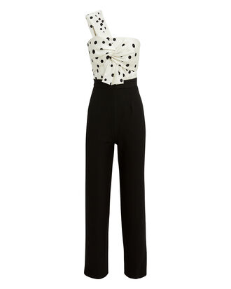 Georgia One Shoulder Jumpsuit, BLK/WHT, hi-res