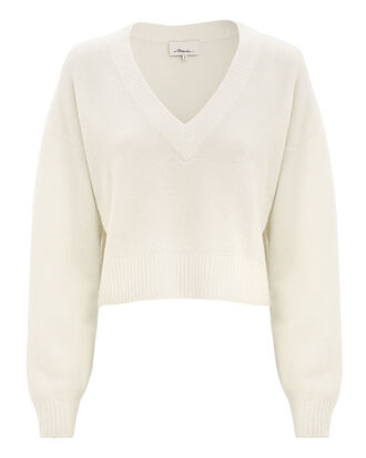 Cropped Sweater, IVORY, hi-res