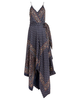 Scarf Print Sleeveless Wrap Dress, NAVY/BANDANA PRINT, hi-res