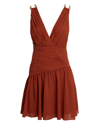 Emily Pleated Chiffon Mini Dress, ORANGE, hi-res