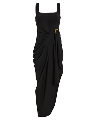 Maine Draped Crepe Combo Midi Dress, BLACK, hi-res