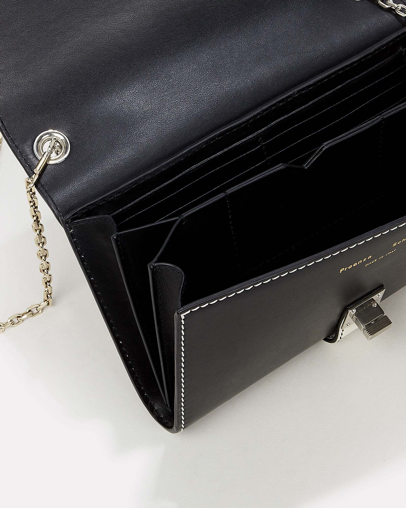 PS11 Colorblock Chain Clutch, BLACK/WHITE LEATHER, hi-res