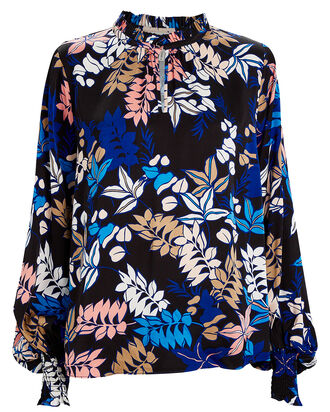 Jessa Floral Satin Blouse, MULTI, hi-res
