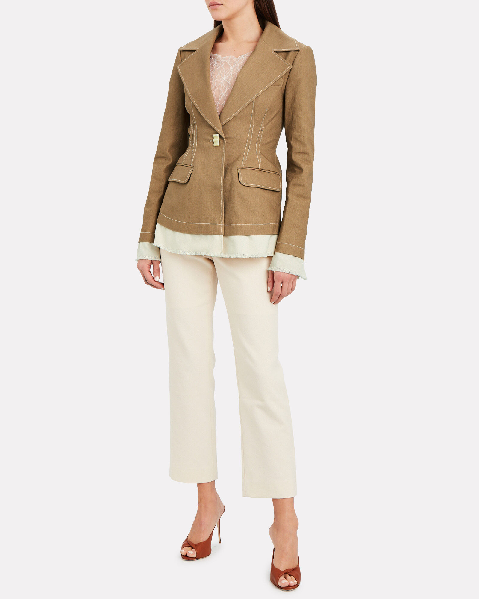 Finley Canvas Cropped Trousers, IVORY, hi-res