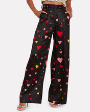 Peter Twill Palazzo Trousers, BLACK/HEART PRINT, hi-res